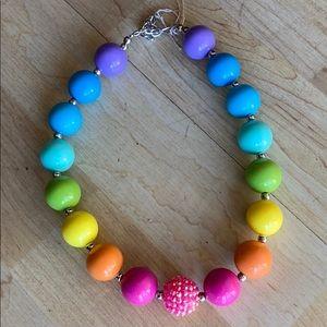 Girls Rainbow Beaded Necklace